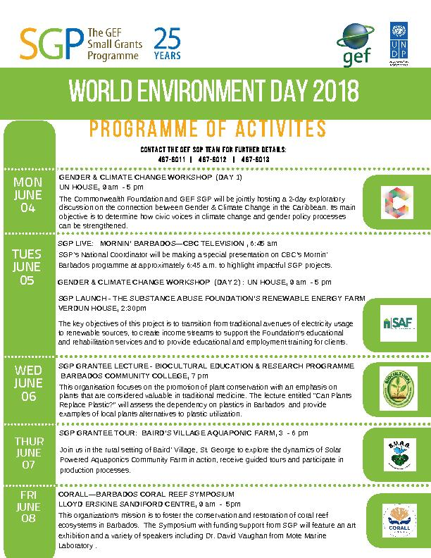 SGP Barbados Activities for World Environment Day 2018