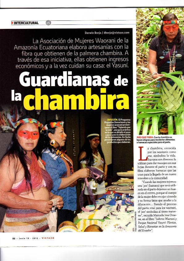 2015 Equator winner Mujeres Waorani in local magazine