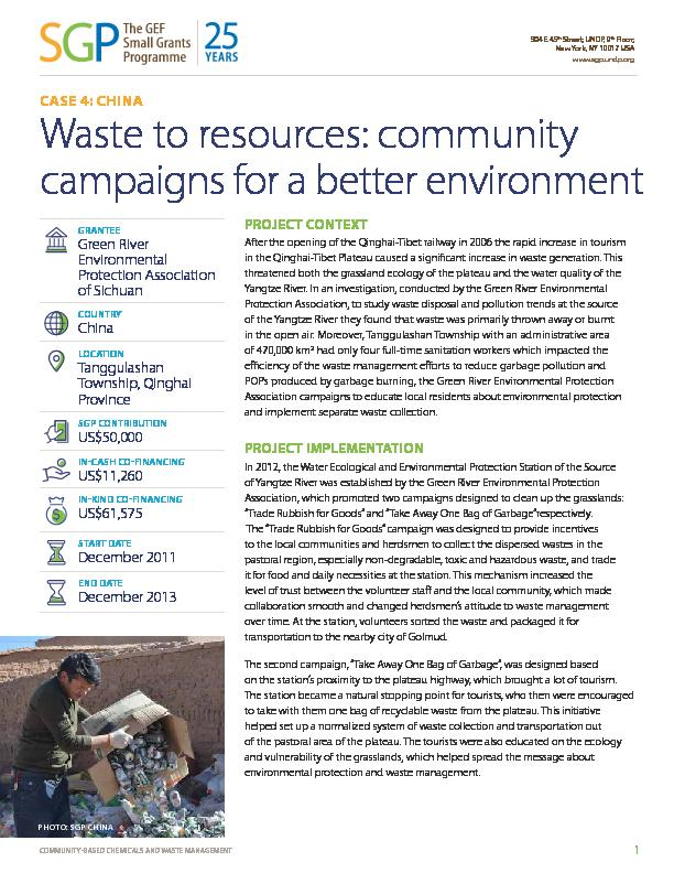 China: Waste to resources: community campaigns for a better environment